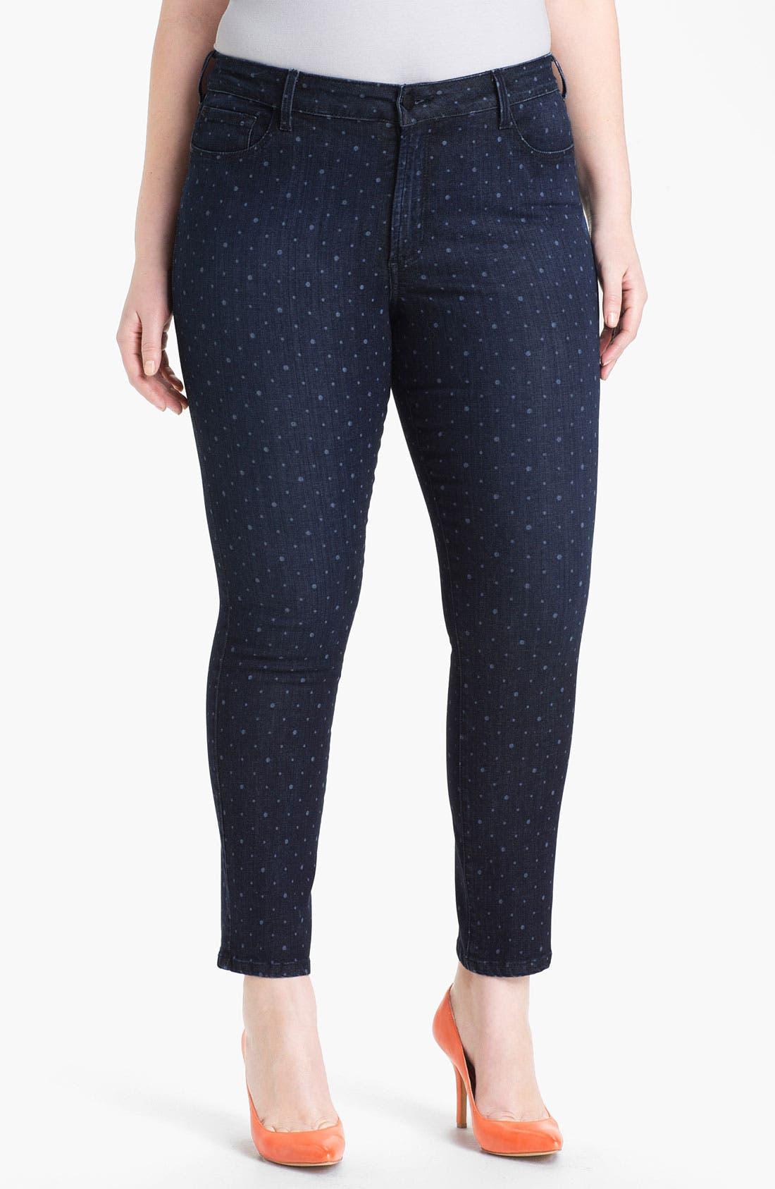 Alternate Image 1 Selected - NYDJ 'Sheri - Polka Dot' Print Skinny Ankle Jeans (Plus Size)