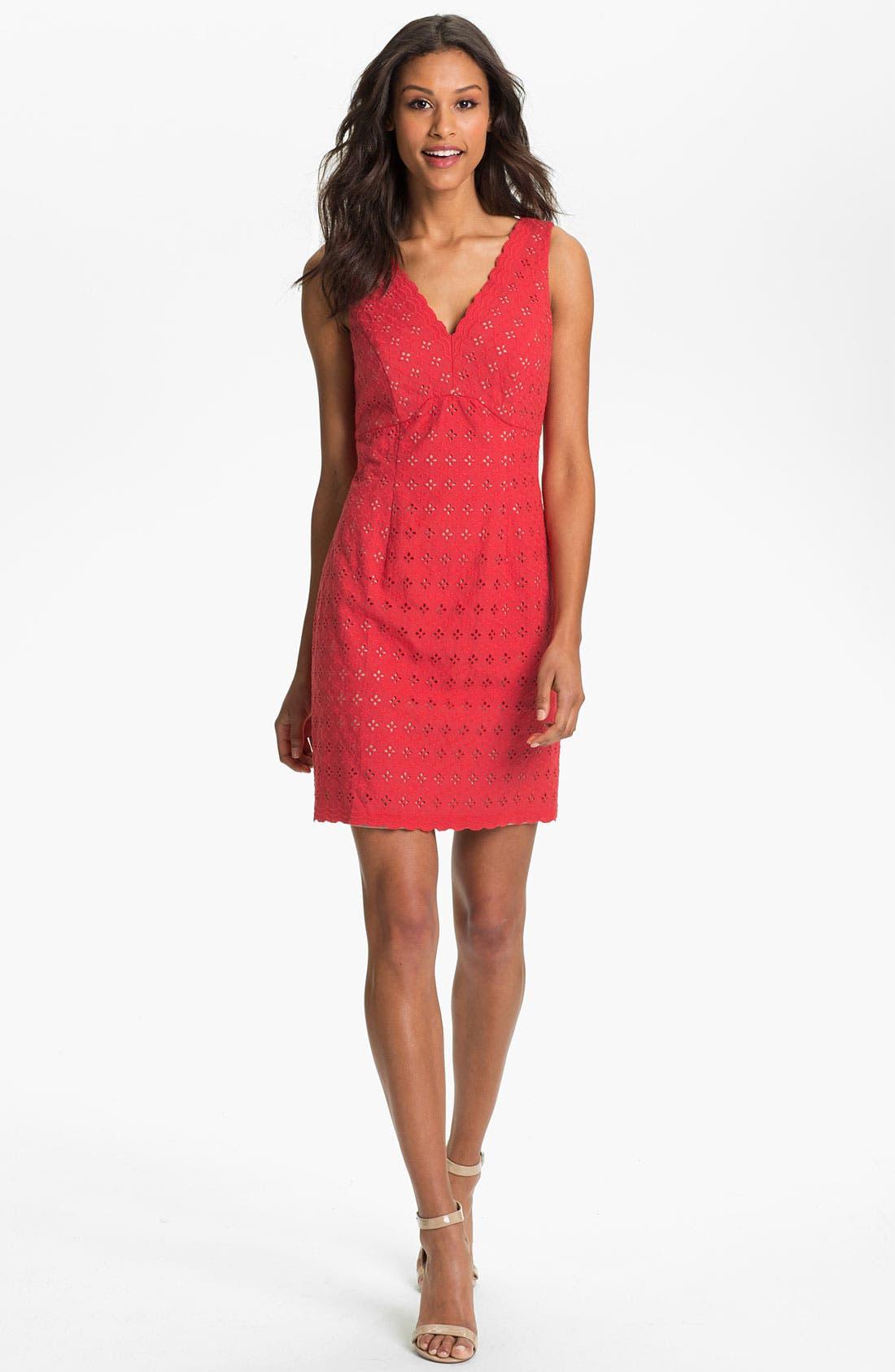 Main Image - Donna Ricco Cotton Eyelet Dress