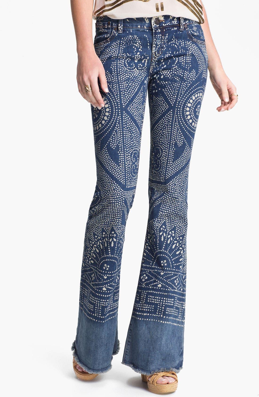 Alternate Image 1 Selected - Free People 'Bali' Print Flare Leg Jeans (Malaya)