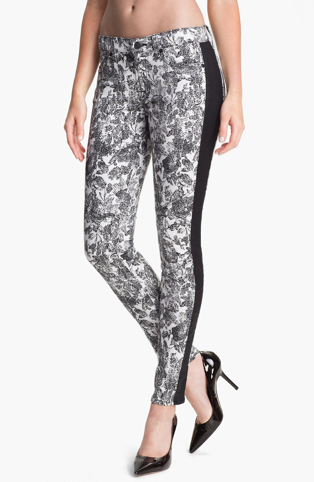Main Image - 7 For All Mankind® 'The Skinny' Print Tuxedo Jeans (Etched Floral)