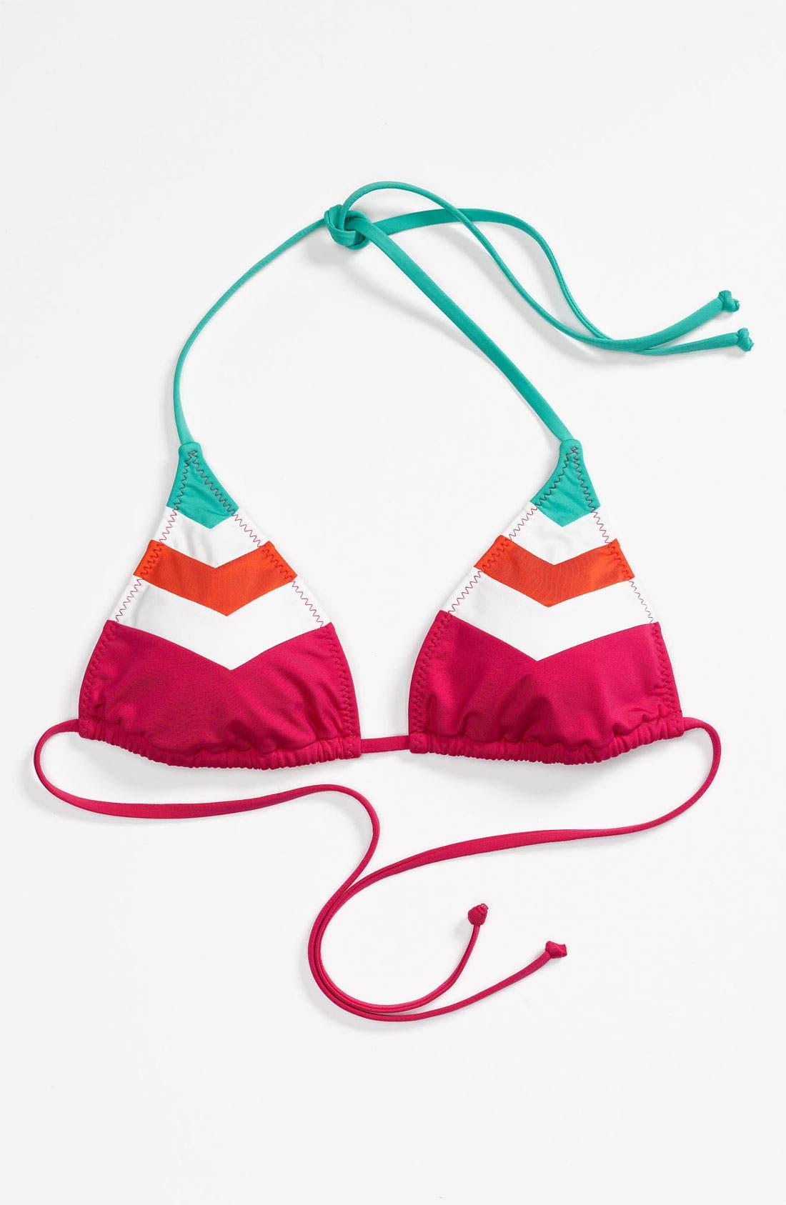 Main Image - Becca Chevron Colorblock Triangle Bikini Top