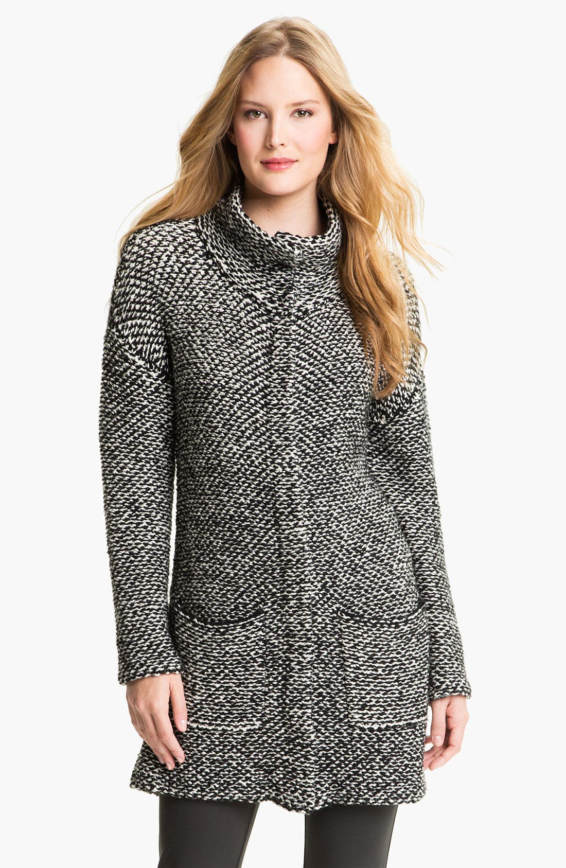 Alternate Image 1 Selected - Eileen Fisher Funnel Collar Twist Jacket (Petite)