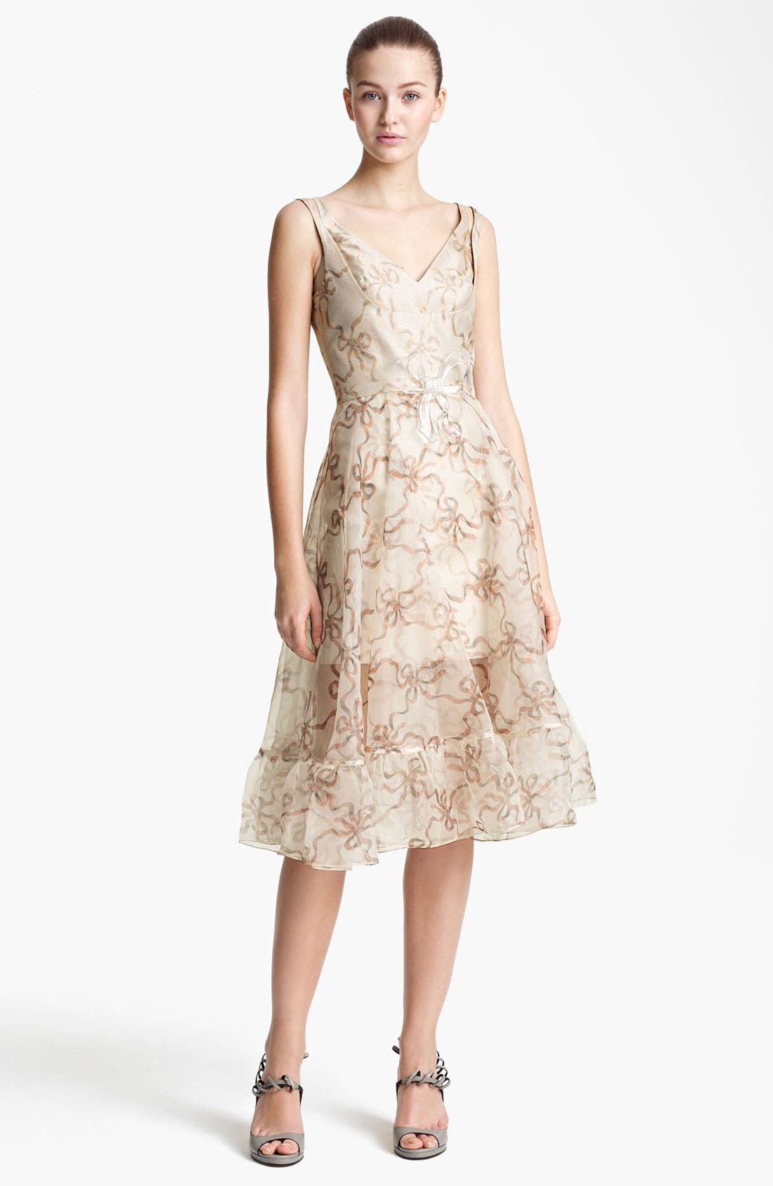 Alternate Image 1 Selected - Christopher Kane Ribbon Print Organza Dress