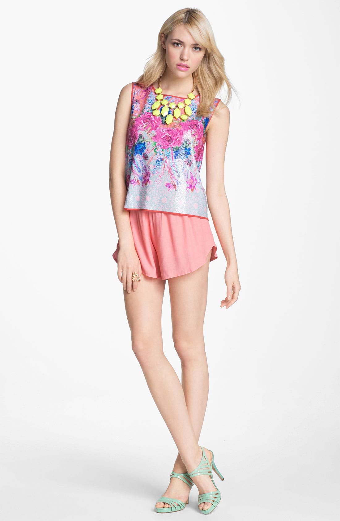 Alternate Image 2  - Dream Daily 'Vermilion Flowers' Sequin Crop Top