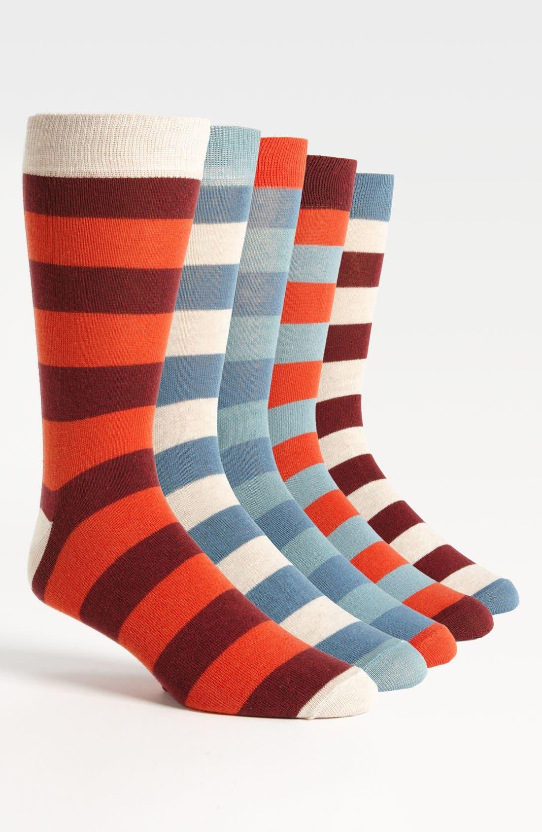 Alternate Image 1 Selected - Topman Stripe Socks (5-Pack)