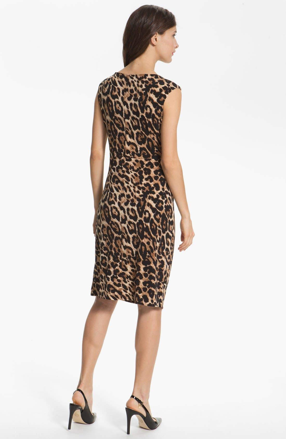 Alternate Image 2  - Chaus Knot Waist Leopard Print Dress