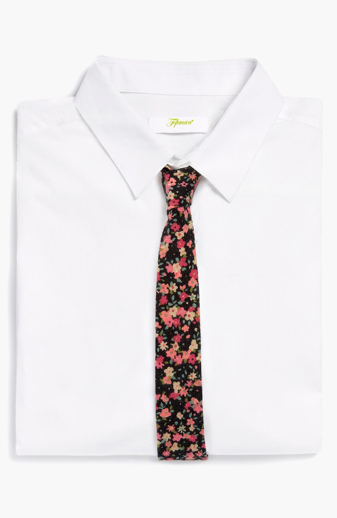 Alternate Image 1 Selected - Topman Floral Print Woven Tie