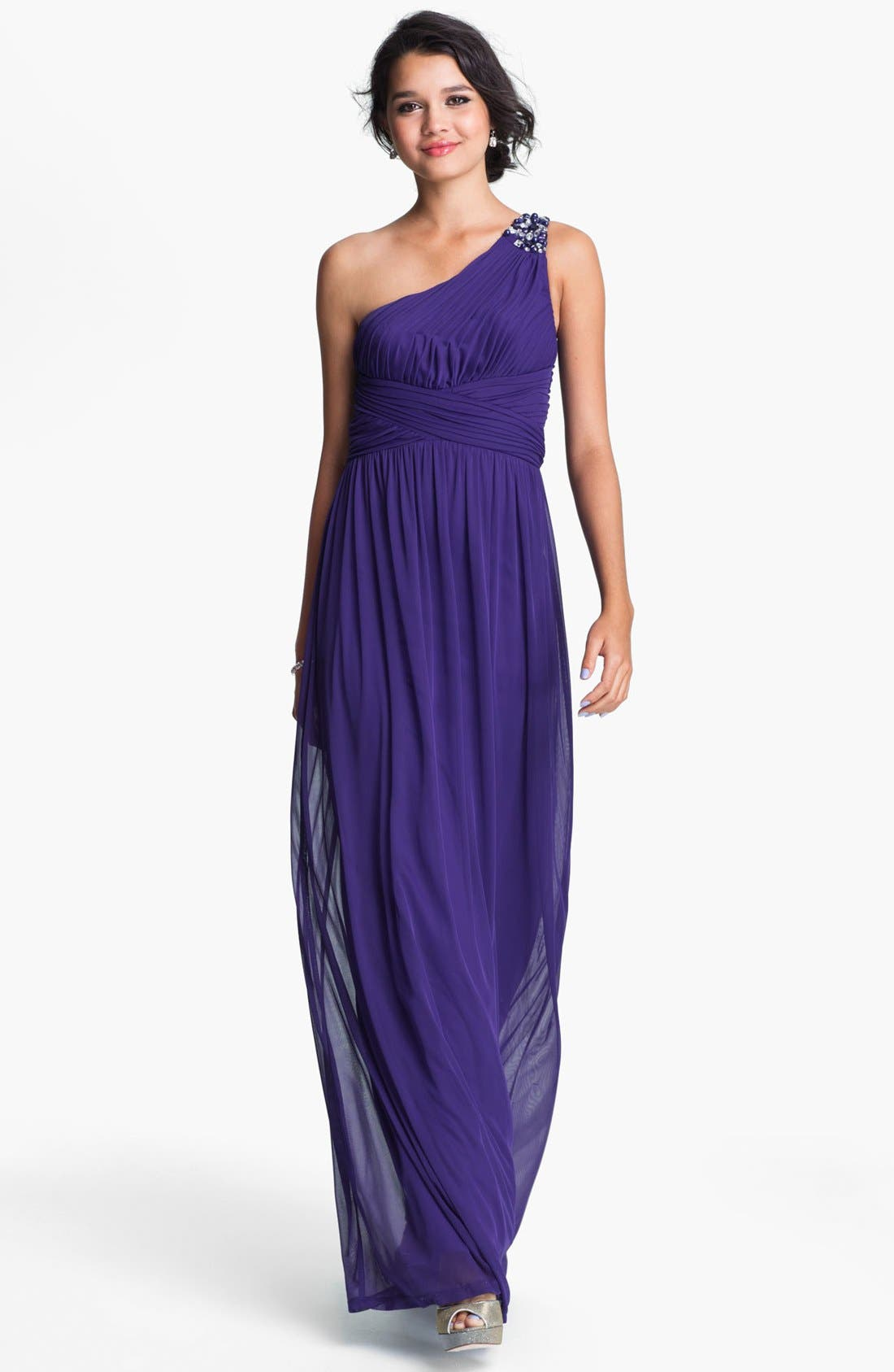 Main Image - Way-In Embellished One Shoulder Chiffon Gown (Juniors)