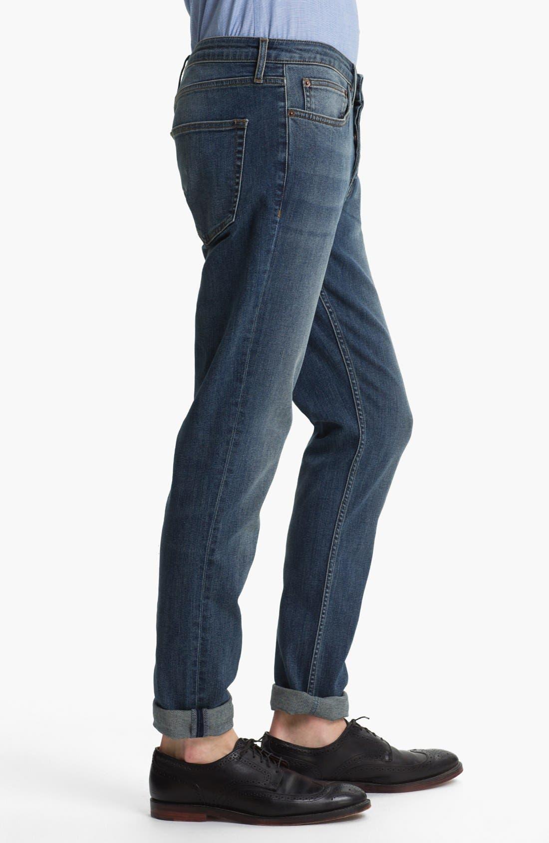 Alternate Image 3  - Topman Slim Skinny Leg Jeans (Medium Blue)
