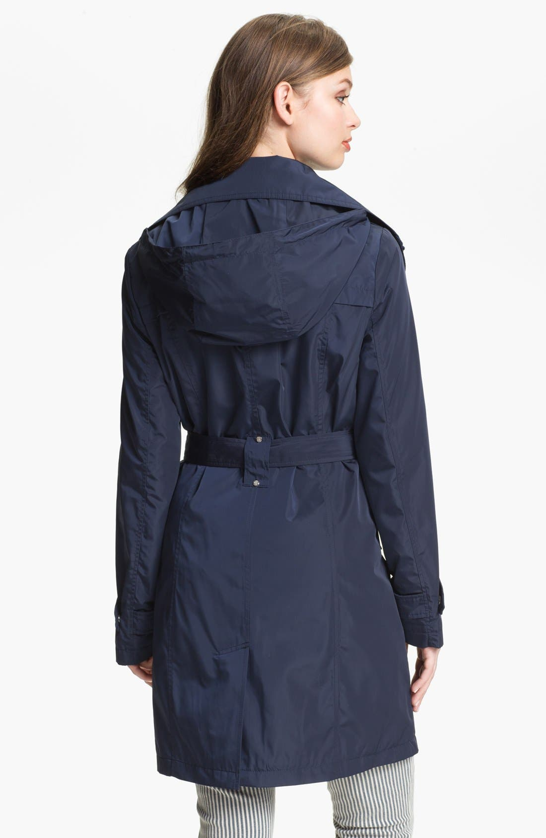 Alternate Image 2  - Calvin Klein Packable Trench Coat with Detachable Hood