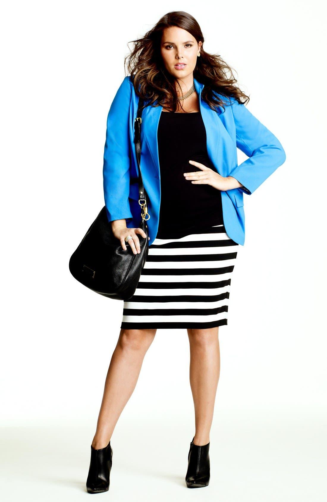 Alternate Image 6  - Vince Camuto Stripe Pencil Skirt (Plus Size)
