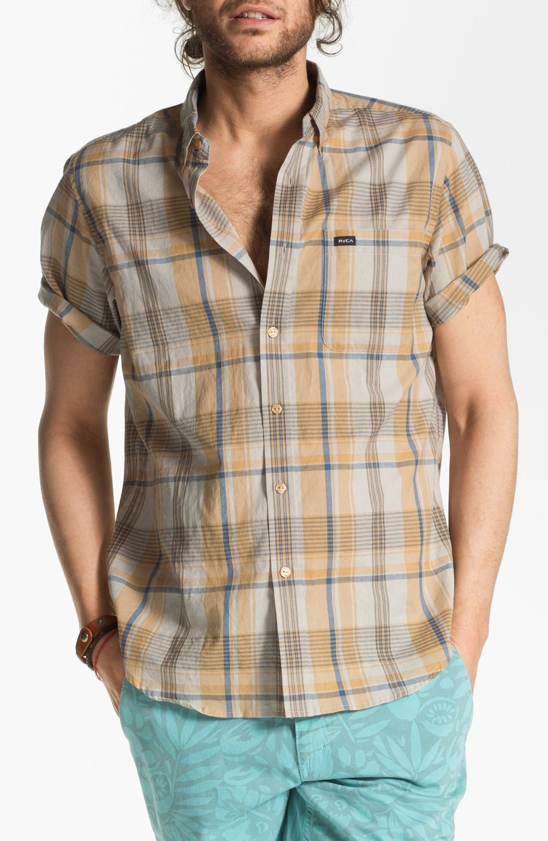 Alternate Image 1 Selected - RVCA 'Nettle' Plaid Woven Shirt