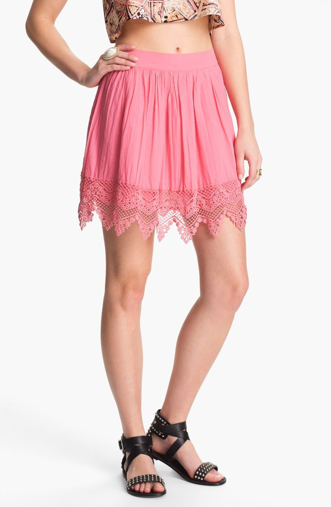 Alternate Image 1 Selected - Frenchi® Crochet Trim Skirt (Juniors)