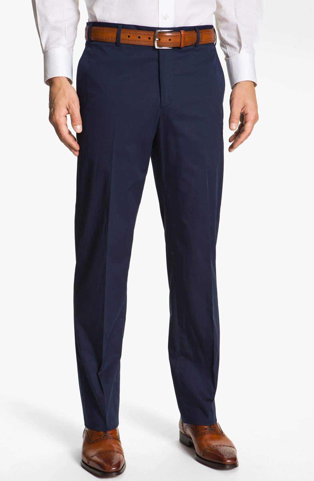 Main Image - Zanella 'Devon' Flat Front Seersucker Trousers