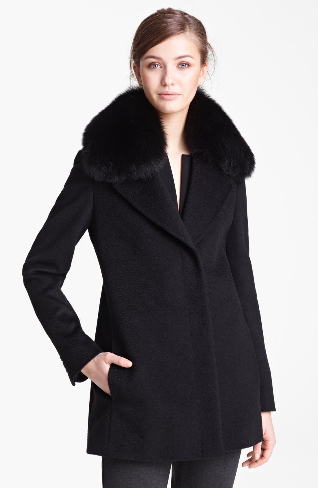 Main Image - Max Mara Camel's Hair Swing Coat with Genuine Fur Collar