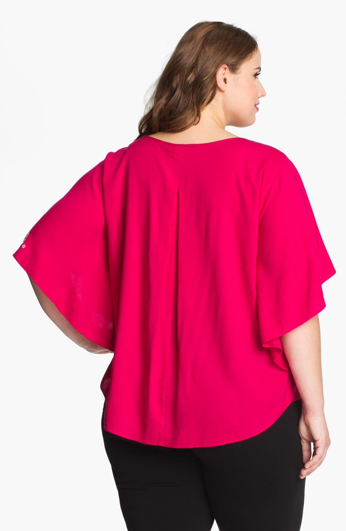 Alternate Image 2  - Karen Kane Embroidered Angel Sleeve Top (Plus Size) (Online Only)