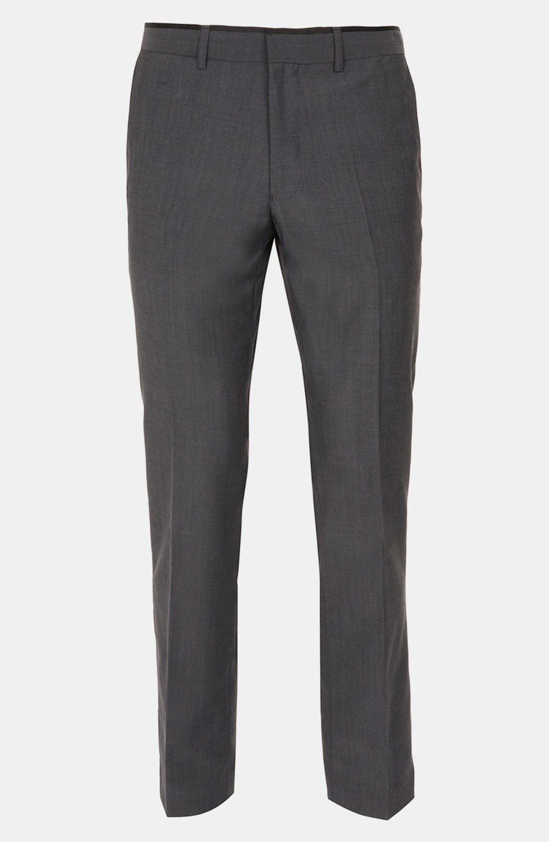 Alternate Image 1 Selected - Topman Skinny Flat Front Trousers