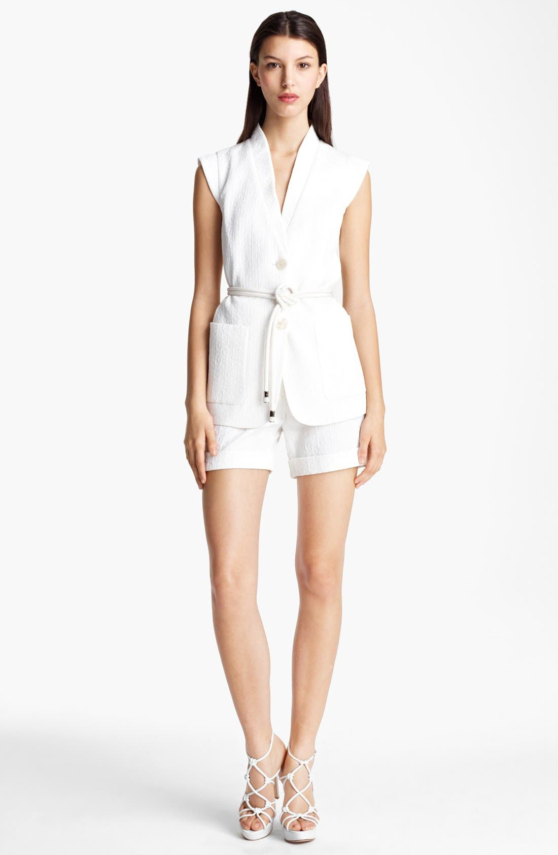 Alternate Image 2  - Armani Collezioni Embroidered Vest with Rope Belt