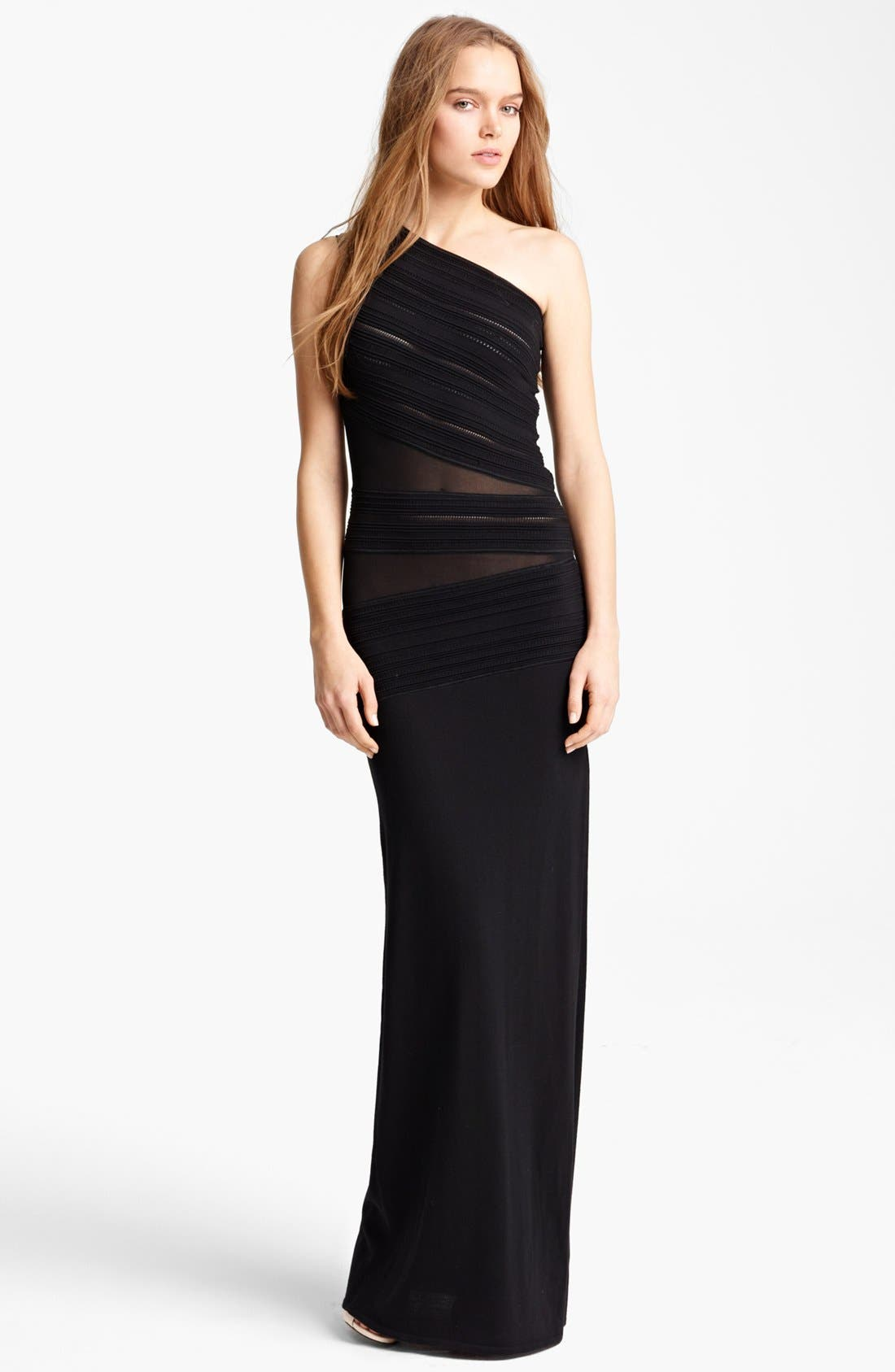 Main Image - Roberto Cavalli Sheer Inset One Shoulder Gown