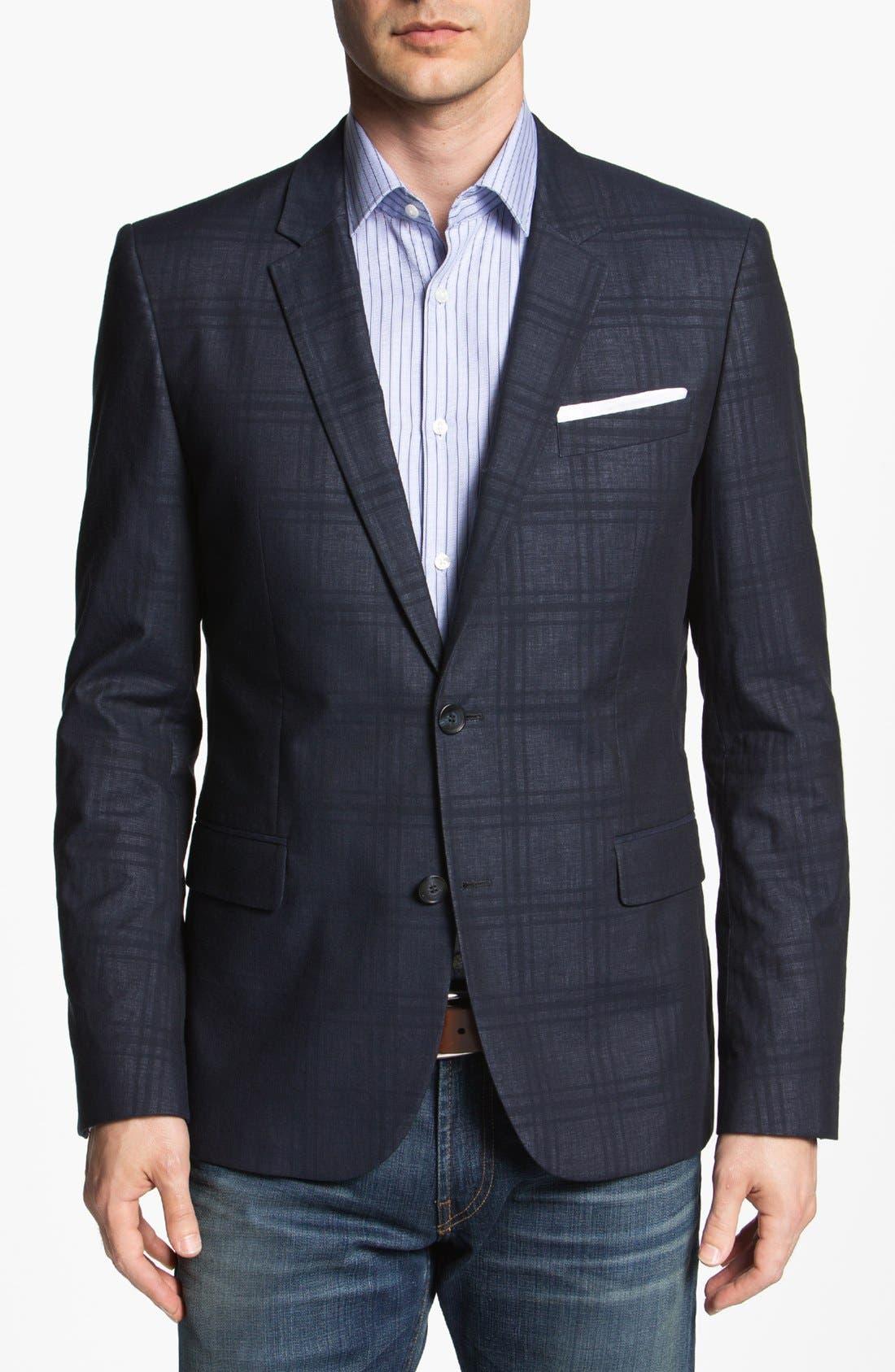 Alternate Image 1 Selected - HUGO 'Amares' Extra Trim Fit Plaid Sportcoat