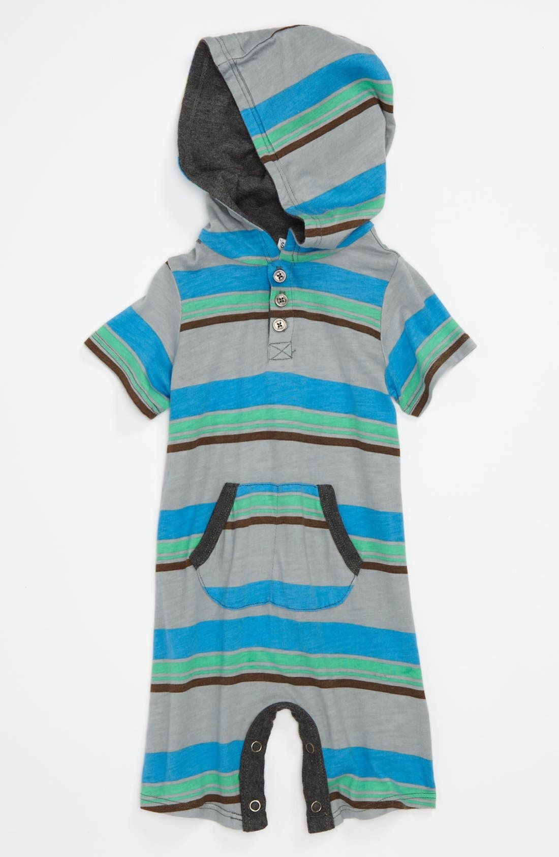 Alternate Image 1 Selected - Splendid Stripe Hooded Romper (Baby)