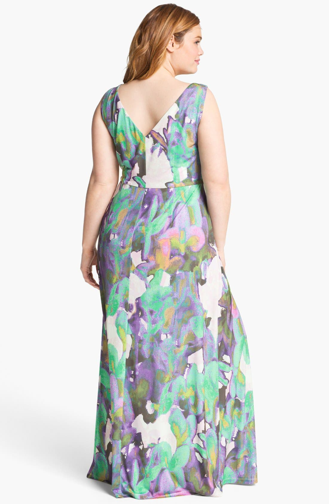 Alternate Image 2  - Suzi Chin for Maggy Boutique Sleeveless Print Maxi Dress (Plus Size)