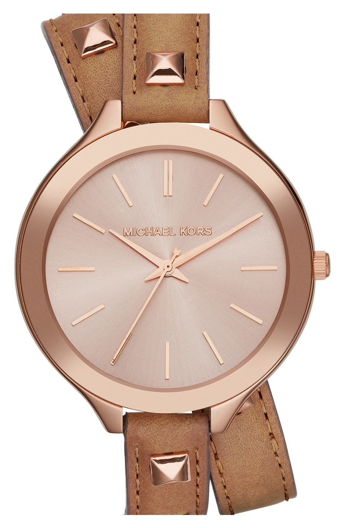 Alternate Image 1 Selected - Michael Kors 'Slim Runway' Double Wrap Leather Strap Watch, 42mm