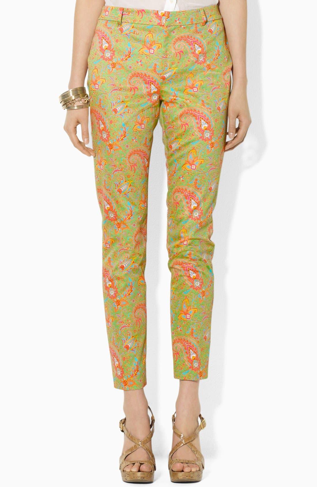 Alternate Image 1 Selected - Lauren Ralph Lauren Paisley Slim Ankle Pants