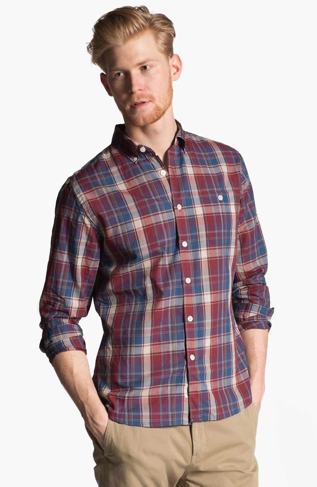 Alternate Image 1 Selected - Todd Snyder Plaid Cotton Sport Shirt