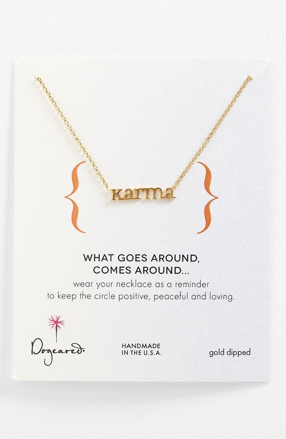 Main Image - Dogeared 'Words to Live By - Karma' Pendant Necklace