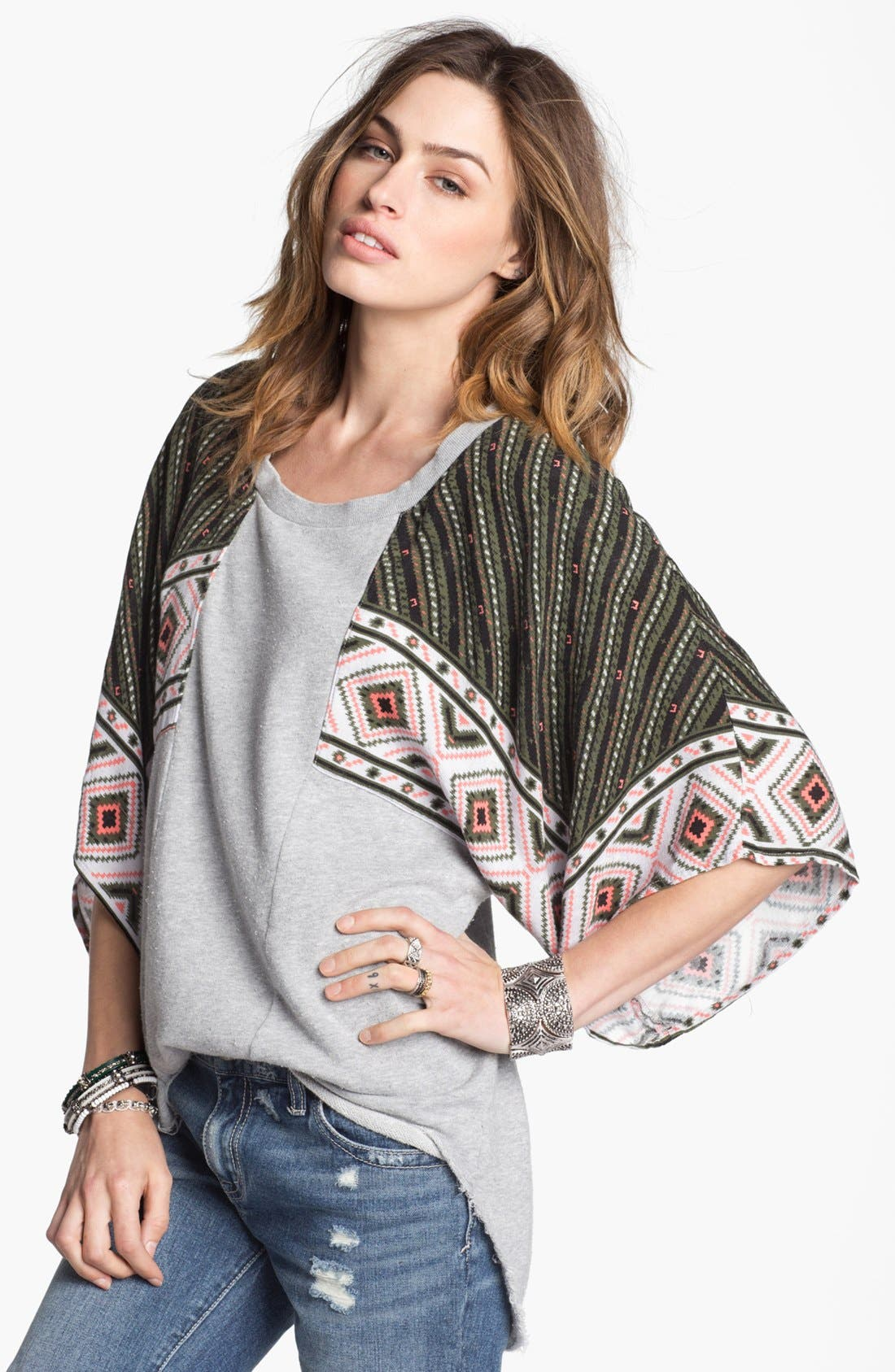 Main Image - Free People 'Festival' Mixed Media Sweatshirt
