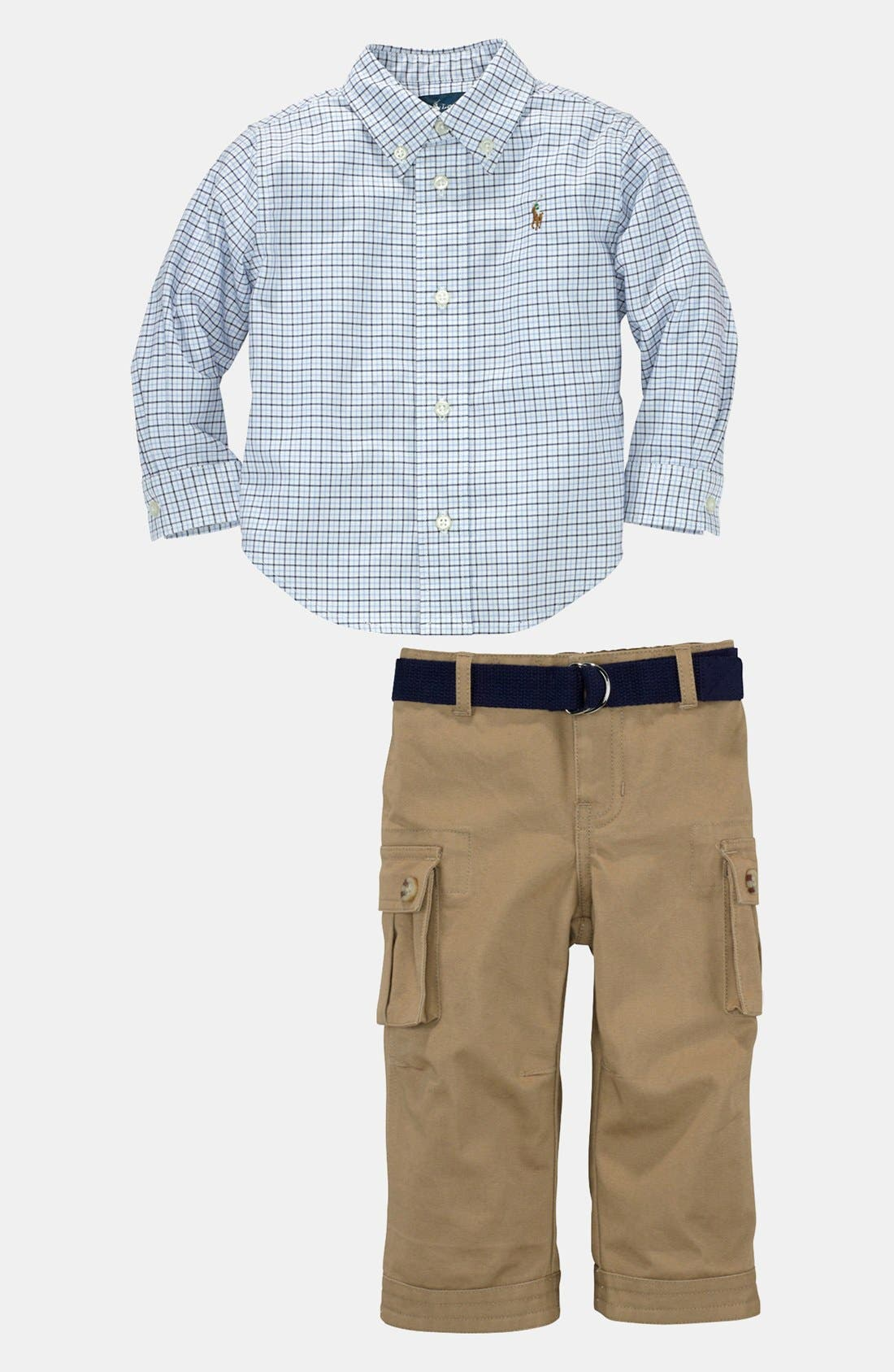 Alternate Image 1 Selected - Ralph Lauren Shirt & Pants (Baby)