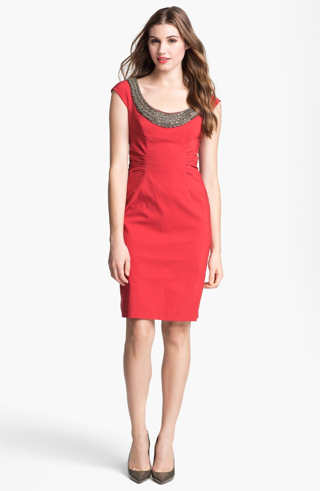 Main Image - Adrianna Papell Beaded Neck Ruched Sheath Dress