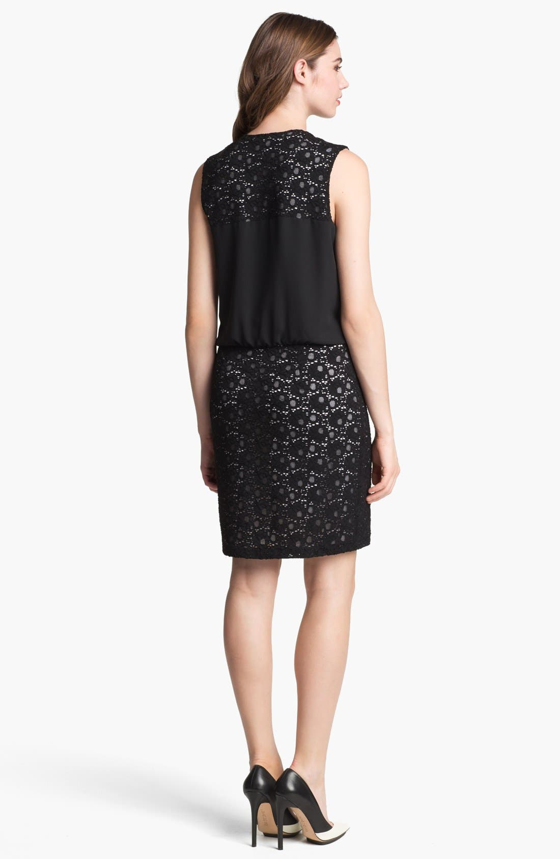 Alternate Image 2  - Marc New York by Andrew Marc Crepe & Lace Blouson Dress