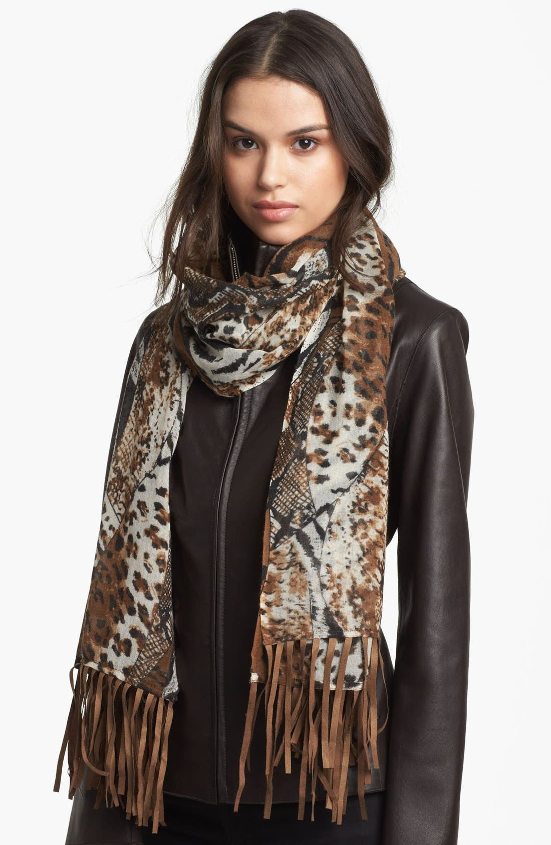 Main Image - Lulla Collection by Bindya Fringed Animal Print Scarf