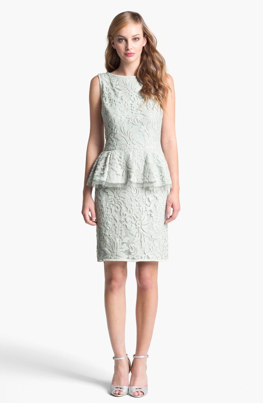 Main Image - Tadashi Shoji Textured Lace Peplum Dress
