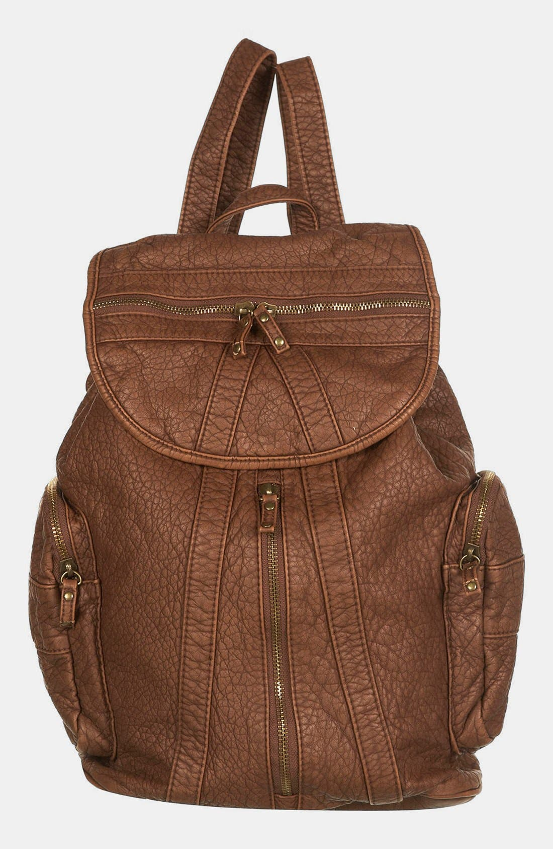 Alternate Image 1 Selected - Topshop Multi Zip Faux Leather Backpack