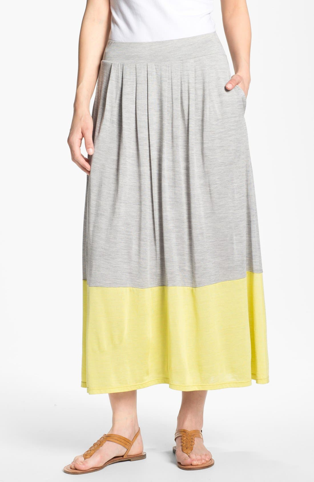 Main Image - Eileen Fisher Pleated Colorblock Midi Skirt (Regular & Petite)
