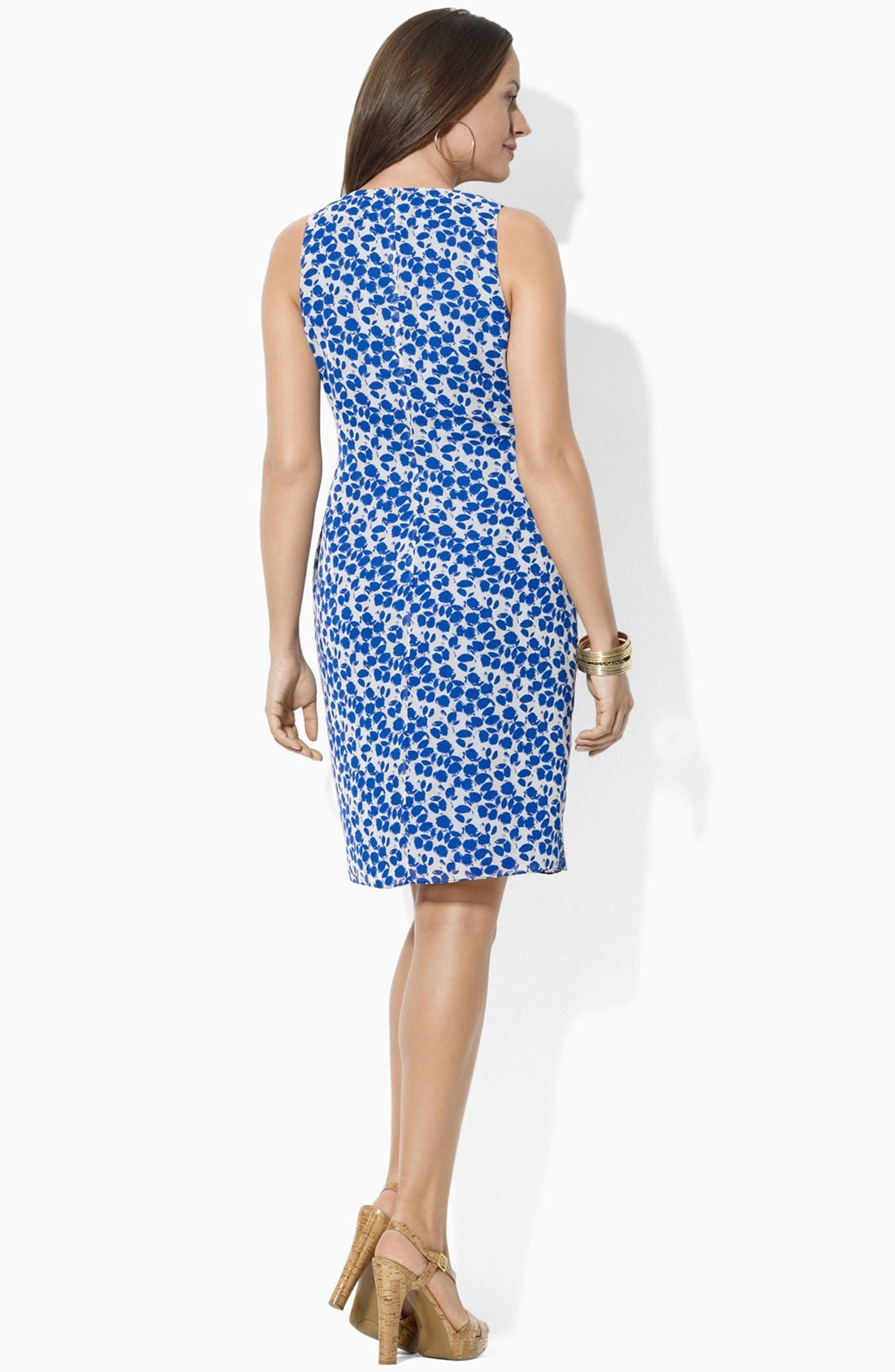 Alternate Image 2  - Lauren Ralph Lauren Print Faux Wrap Chiffon Dress (Plus Size)