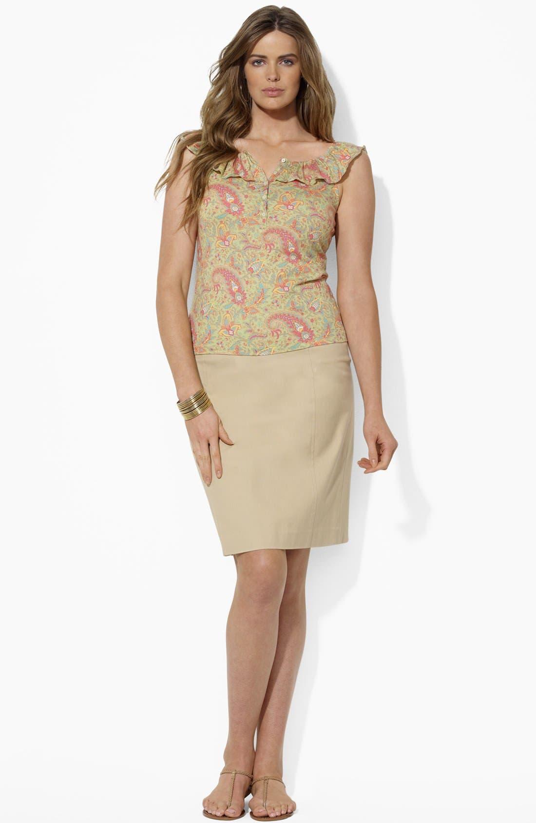 Alternate Image 3  - Lauren Ralph Lauren Button Detail Straight Skirt (Plus Size)