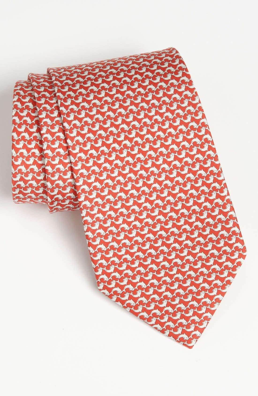 Alternate Image 1 Selected - Salvatore Ferragamo Dolphin Print Silk Tie