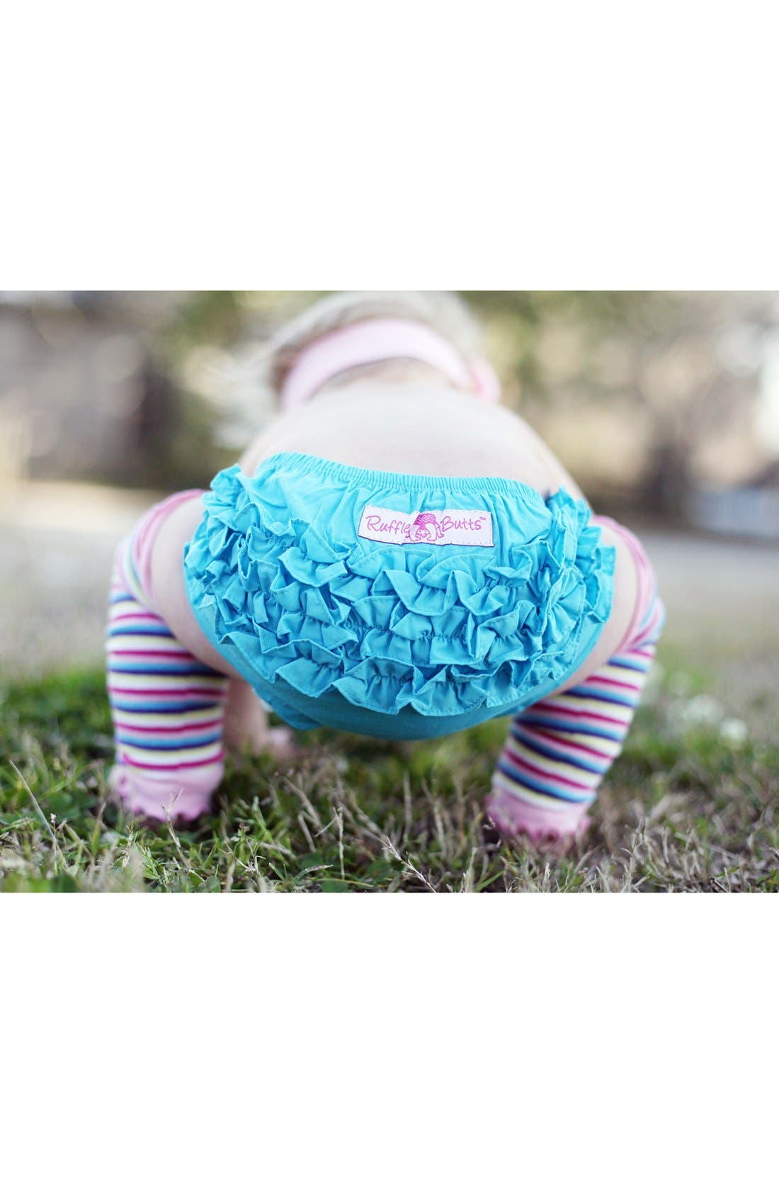 Alternate Image 3  - RuffleButts 'Teal & Pink' Headband, Bloomers & Leg Warmers (Baby)