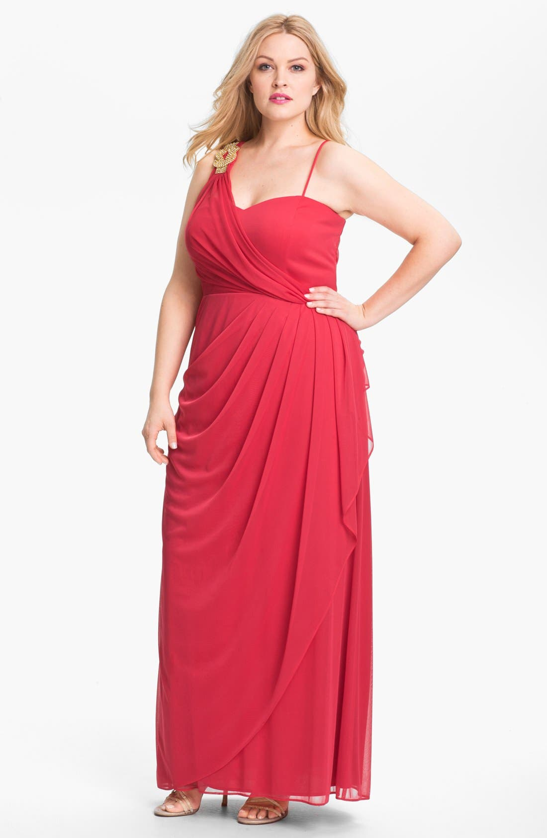 Main Image - Xscape Jeweled Mesh Gown (Plus Size)