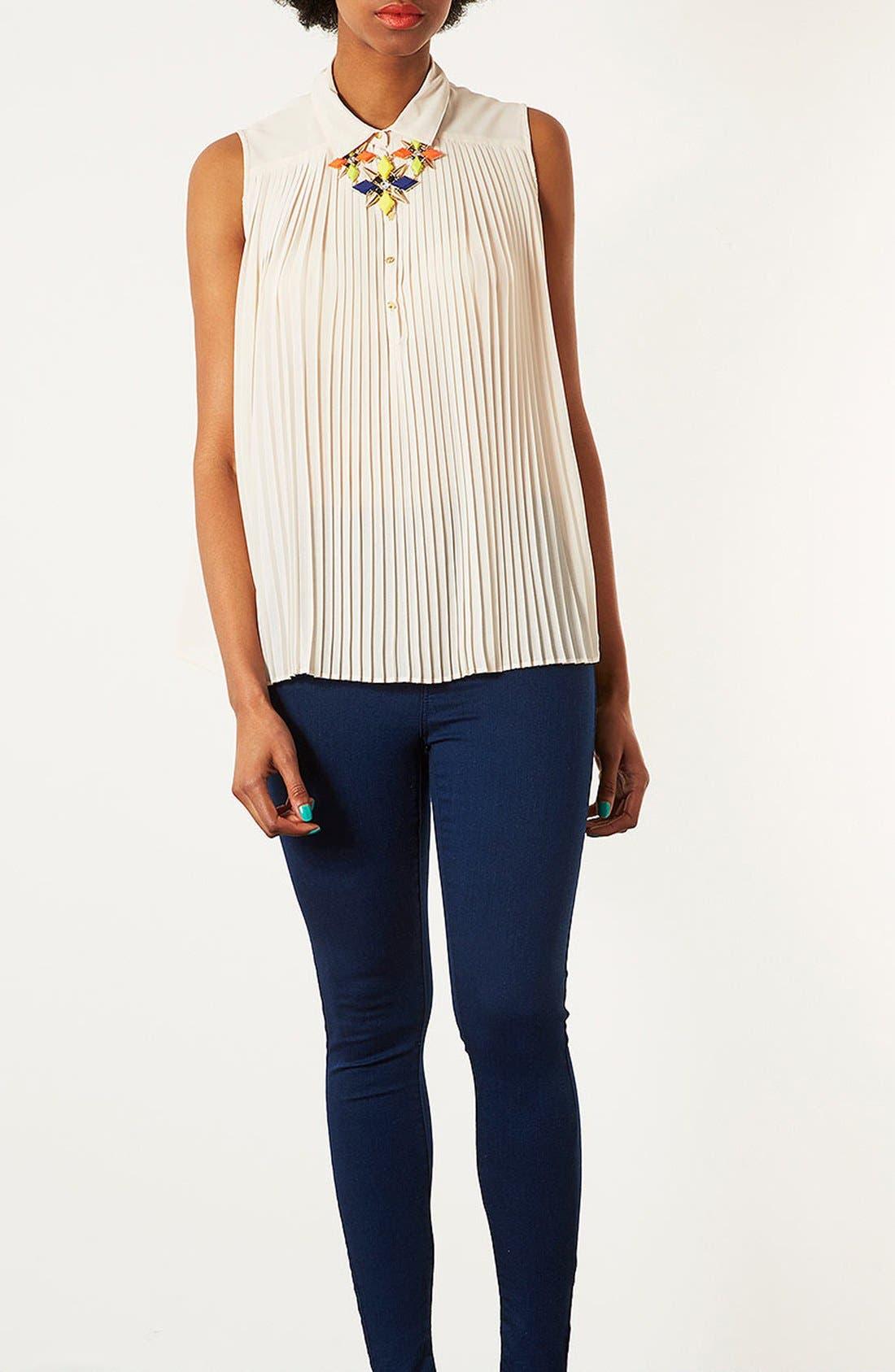 Main Image - Topshop Pleated Sleeveless Shirt