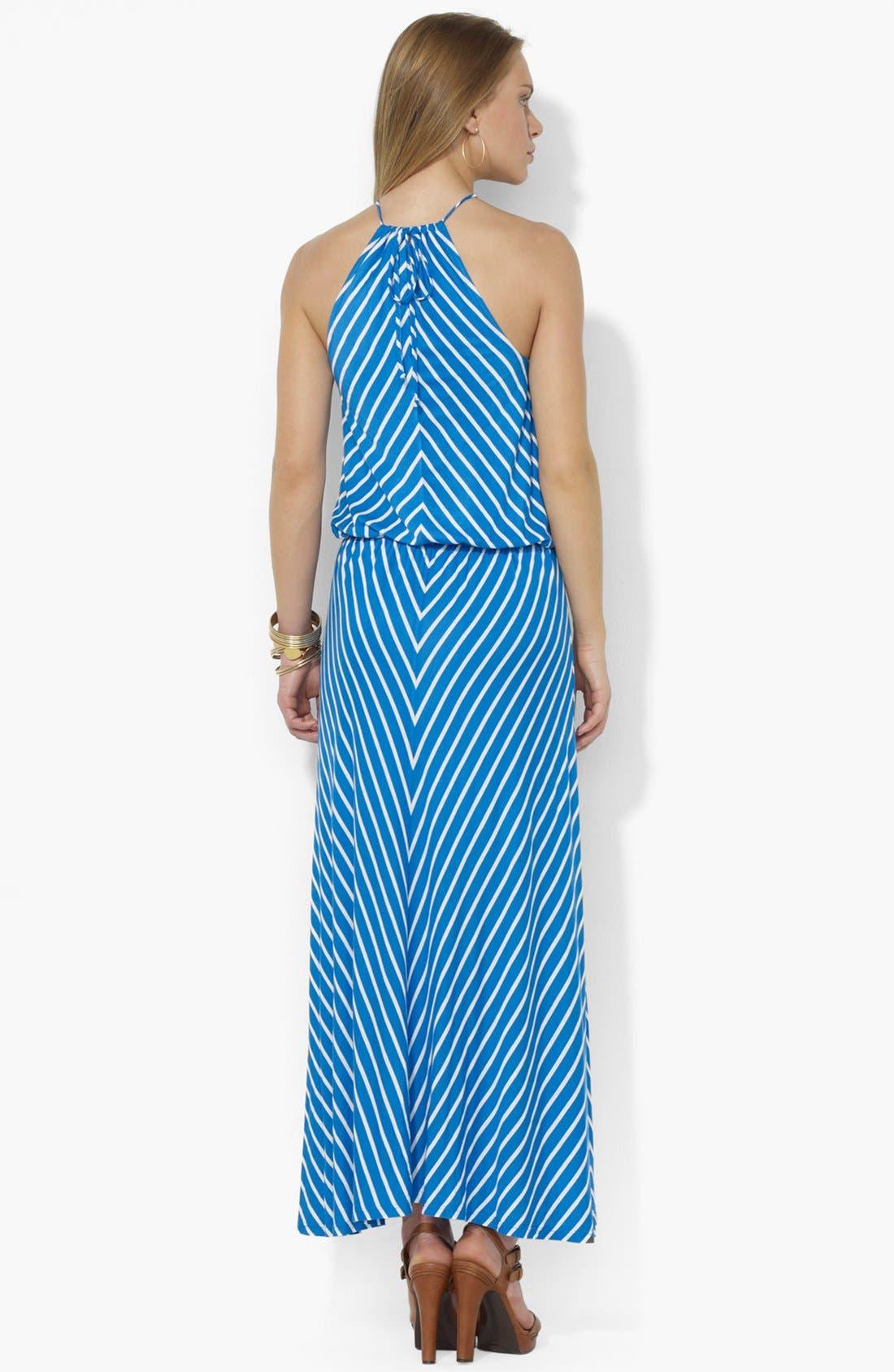 Alternate Image 2  - Lauren Ralph Lauren Cutaway Halter Maxi Dress (Petite)