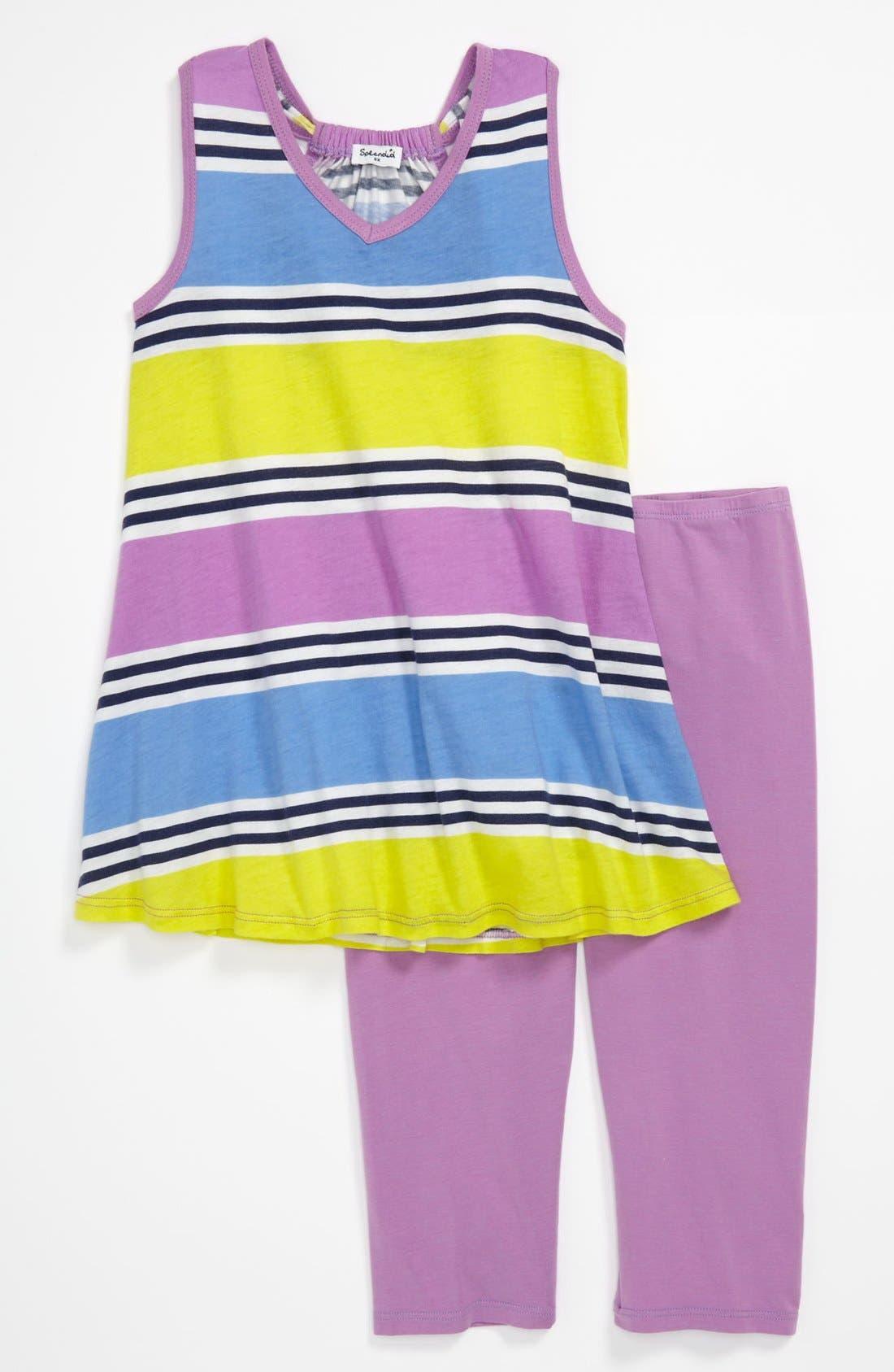 Alternate Image 1 Selected - Splendid 'Cabana Stripe' Tank & Leggings (Little Girls)