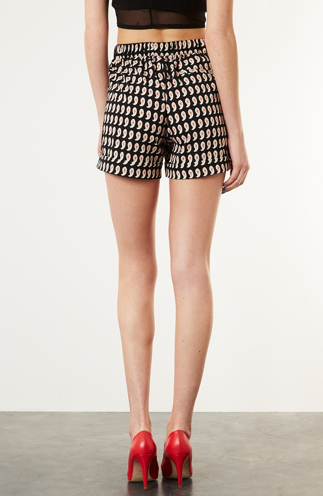 Alternate Image 2  - Topshop Paisley Print Pleated Shorts