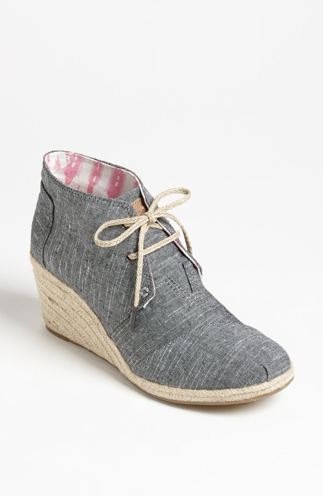 Main Image - TOMS 'Desert' Chambray Wedge Bootie