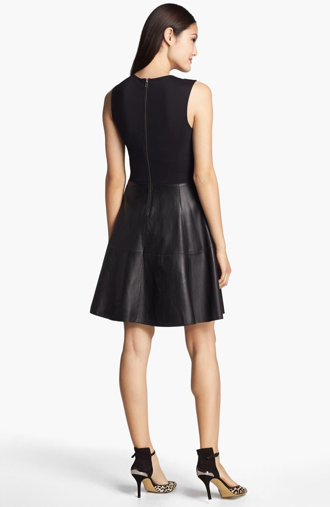 Alternate Image 2  - Halogen® Back Zip Leather & Ponte Dress
