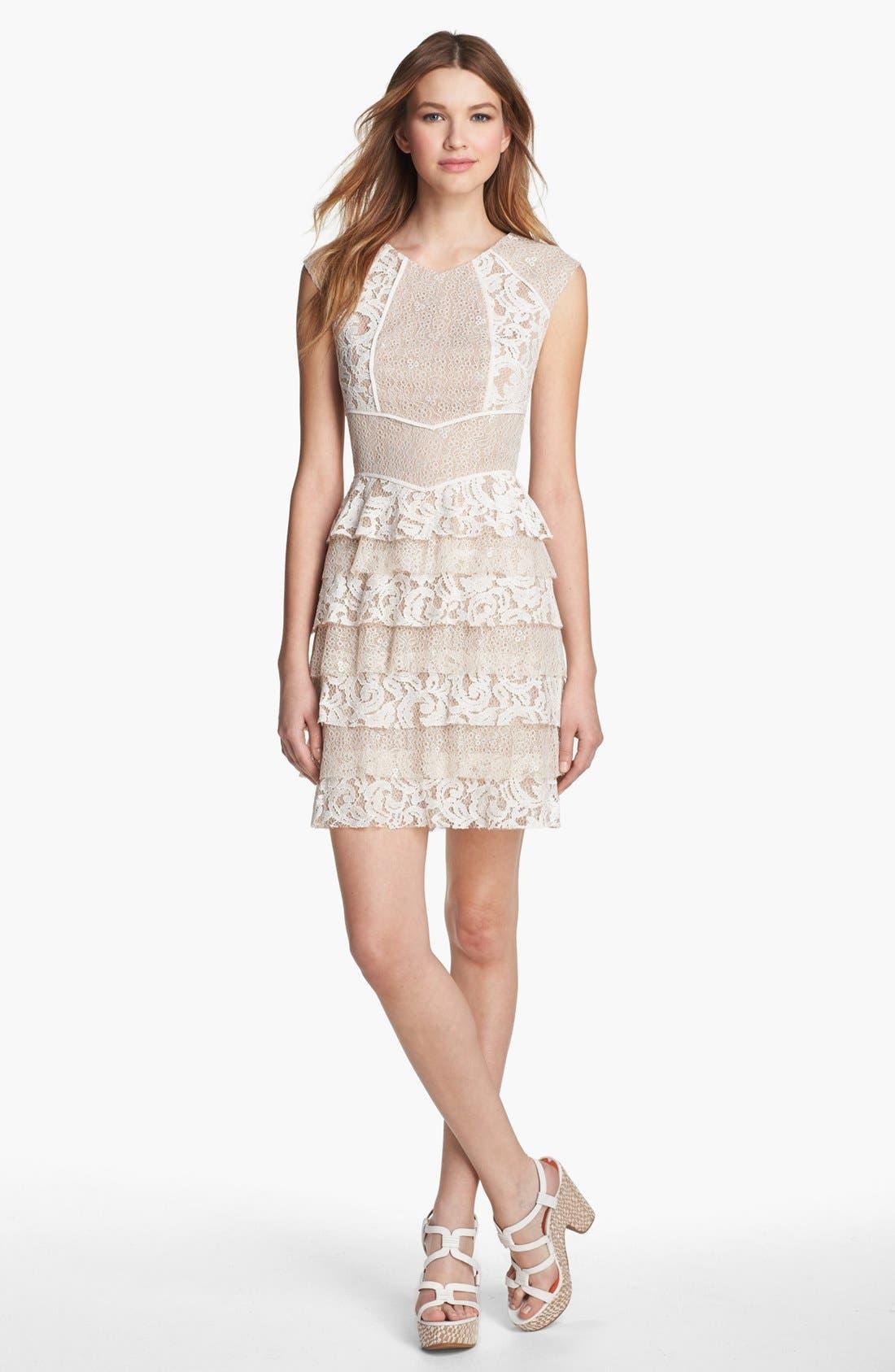 Main Image - BCBGMAXAZRIA Lace Panel Ruffle Dress (Petite)